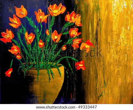 Nice large scale Image Of an original Oil Painting On Wood - stock photo