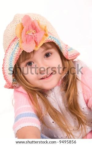 Nice little girl portrait over white - stock photo