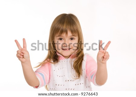 Nice little girl showing two fingers on each hand - stock photo