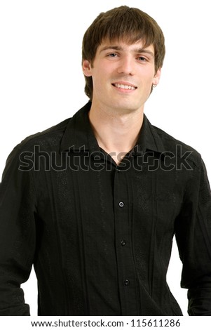 nice man in a black shirt on a white