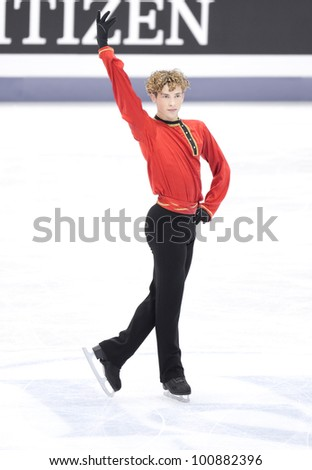 NICE - MARCH 30: Adam Rippon of the USA skates during official practice at the ISU World Figure Skating Championships, held on March 30, 2012 in Nice, France - stock photo