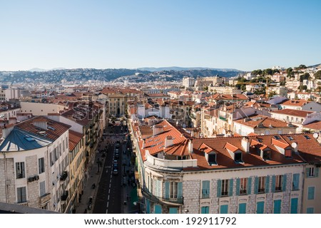 NICE MARCH 07, 2014: Aerial view of antique apartment buildings and narrow streets taken on March 07, 2014 in Nice, France
