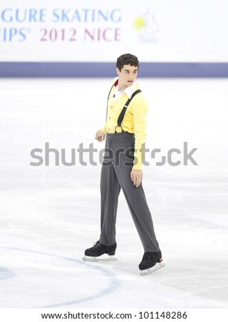 NICE - MARCH 30: Javier Fernandez of Spain performs his short program at the ISU World Figure Skating Championships, held on March 30, 2012 in Nice, France - stock photo