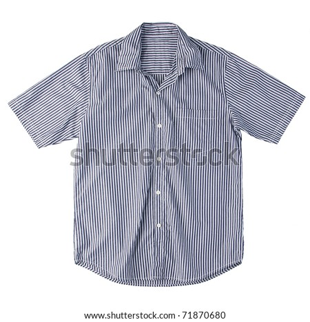 Nice men casual stripe shirt isolated on white - stock photo