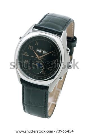 Nice men wristwatch isolated on white - stock photo