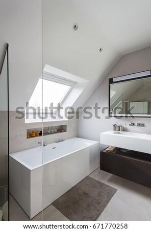 Nice Modern Bathroom Freestanding Bath Solid Stock Photo (Royalty ...