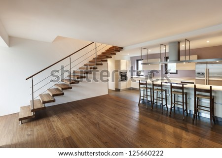 nice modern loft, view of the kitchen