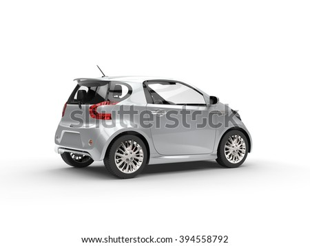 Nice Modern Silver Compact Car - Rear Side View - stock photo