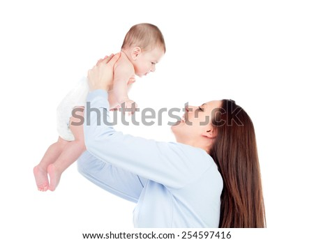 Nice moment of a mother with her baby isolated on a white background