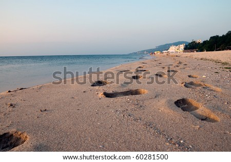 nice morning Albena beach view Bulgaria - stock photo