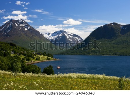Nice mountain and sea view, Tromso, Norway.