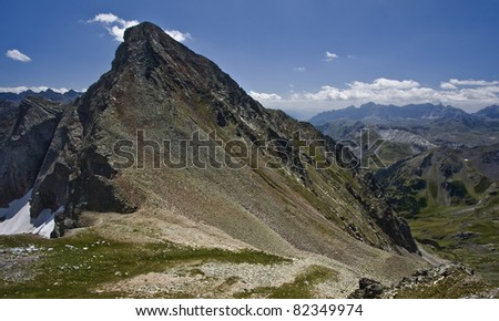 Nice mountain in the pyrenees called Arriel - stock photo