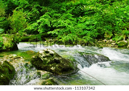 nice mountain stream with a green stones - stock photo
