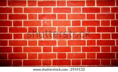 NICE NEW RED BRICK WALL - stock photo