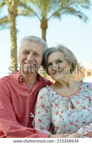 Nice old couple on palm leaves background