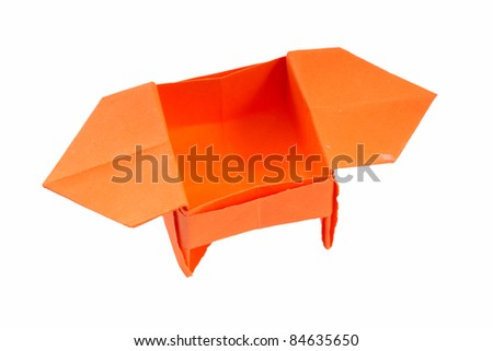 Nice origami box isolated on the white background - stock photo