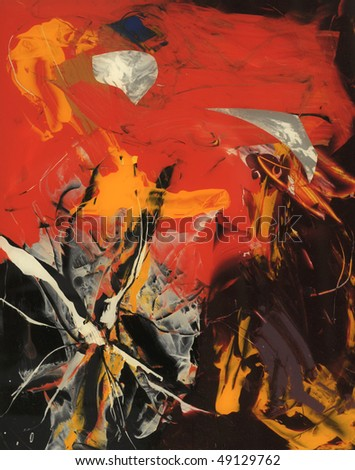 Nice original Abstract Painting On Glass in Verso - stock photo