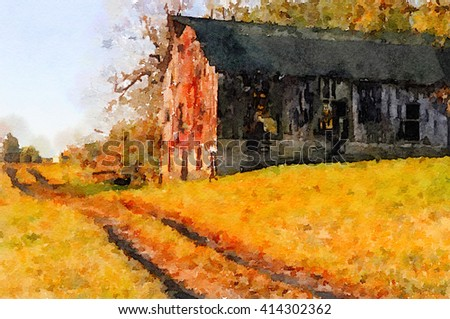 Nice original painting Of a Vintage barn in kentucky