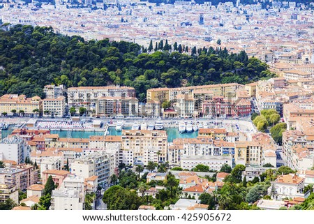 Nice panorama seen from Mt Boron. Nice, French Riviera, France. - stock photo