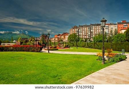 Nice park in the city at summer - stock photo