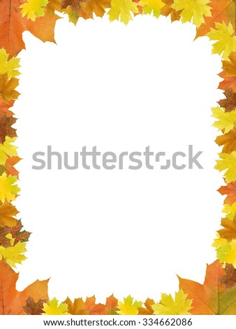 Nice picture frame made from dry maple leaves - stock photo
