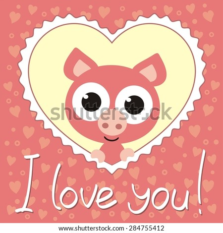 nice pig in heart, i love you, valentines day