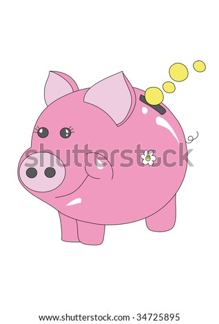 nice piggy bank with blank coin, isolated on white