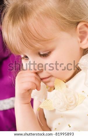 nice portrait of a cute little girl - stock photo