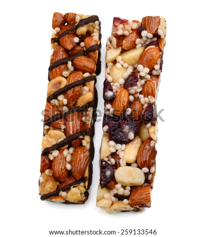 nice protein bars on white background  - stock photo