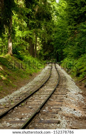 nice railway in green forest - stock photo