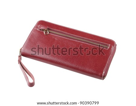 Nice red brown leather wallet isolated on white