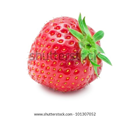 Nice red strawberry isolated on white background - stock photo