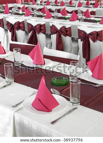 Nice red wedding table set - stock photo