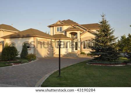 nice residential house on suburb - stock photo