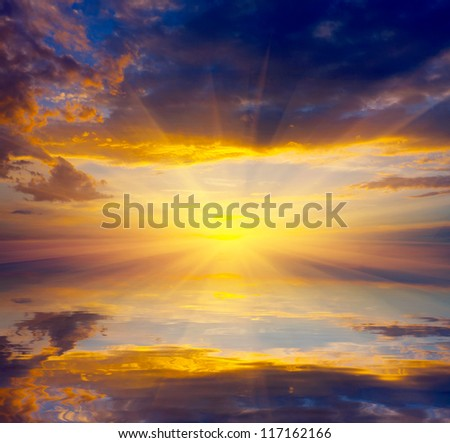 Nice scene with sunset over lake water - stock photo