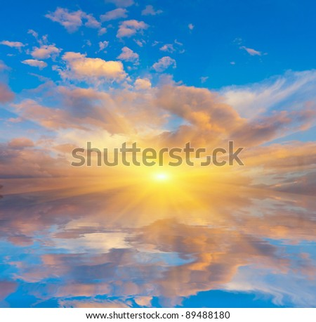 Nice scene with sunset over water surface - stock photo