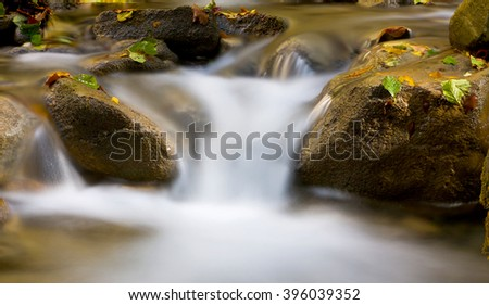 Nice scene with water of mountain brook - stock photo