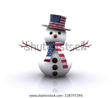 Nice Snowman American - stock photo
