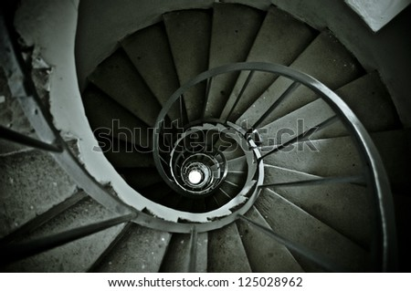 nice spiral from old staircase - stock photo