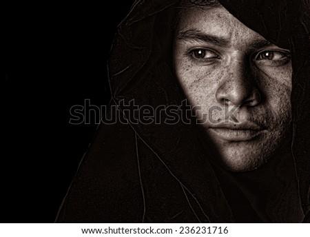 Nice striking Image of a young south american shepherd boy - stock photo