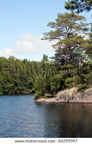 Nice summer day on the lake - stock photo