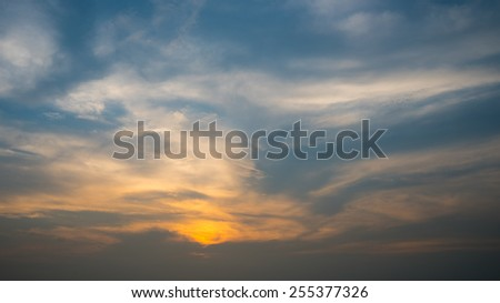 Nice sunset and cloud sky background, Thailand - stock photo