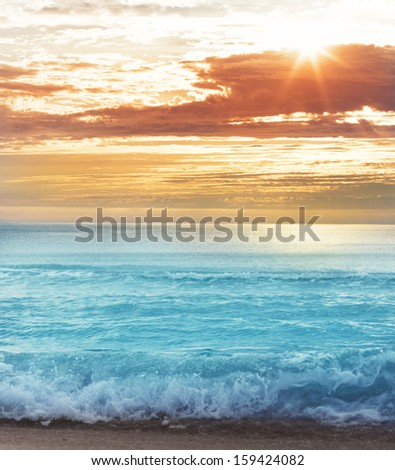 Nice sunset on sea - stock photo