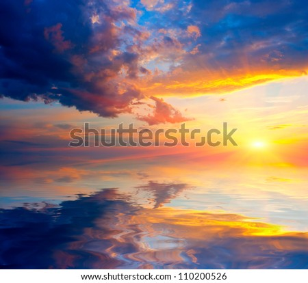Nice sunshine over water surface - stock photo