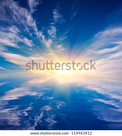 nice sunshine over water surface - stock photo