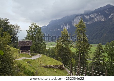 Nice view of Reichenbachtal valley, from Ballenberg museum   - stock photo