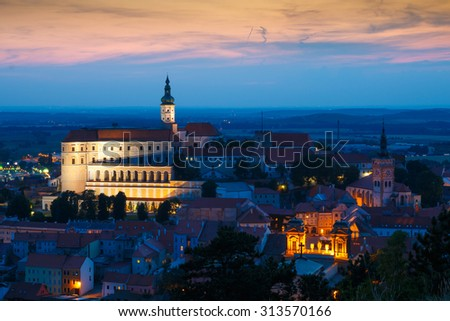 Nice view on city Mikulov with castle in night after sunset
