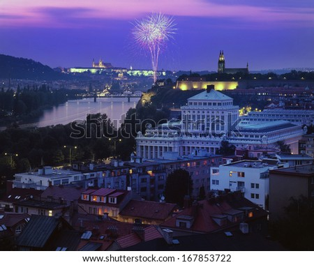 nice view on fireworks at Prague capital of Czech republic - stock photo