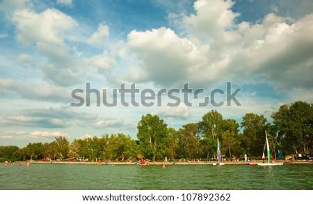 Nice view on lake Balaton, Hungary at summer - stock photo