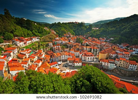 Nice view on the famous city of Cudillero, Spain